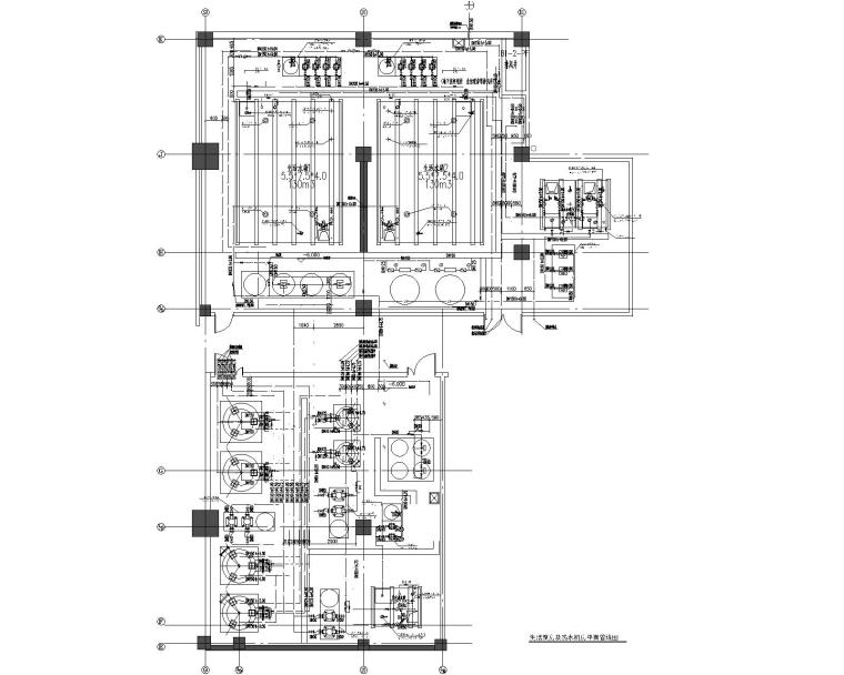 生活泵房及热水机房平面管线图