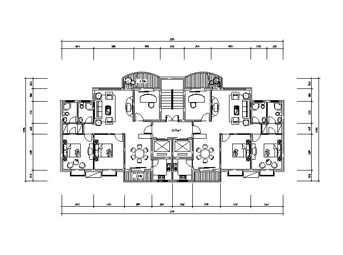 8套小区高层住宅1梯2户标准层户型设计图
