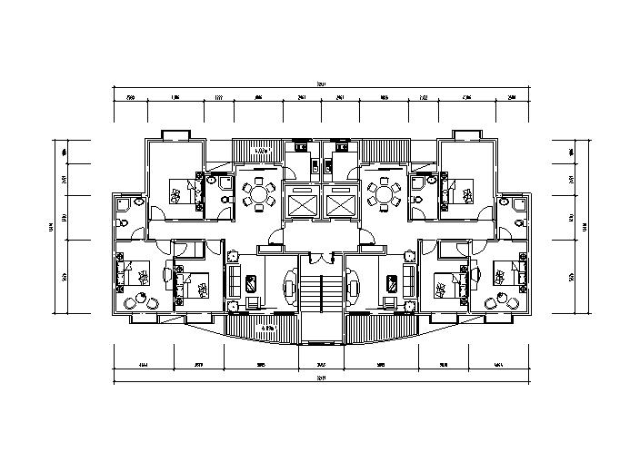 8套小区高层住宅1梯2户标准层户型设计图-高层住宅标准层户型设计图2