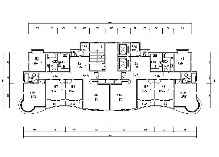 8套小区高层住宅1梯2户标准层户型设计图-高层住宅标准层户型设计图3