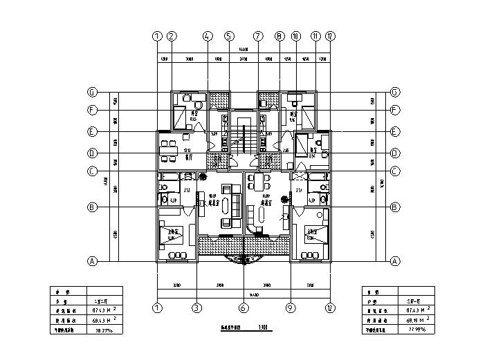 8套小区高层住宅1梯2户标准层户型设计图-高层住宅标准层户型设计图4