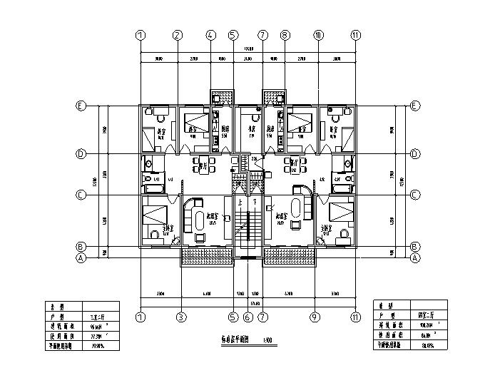 8套小区高层住宅1梯2户标准层户型设计图-高层住宅标准层户型设计图5