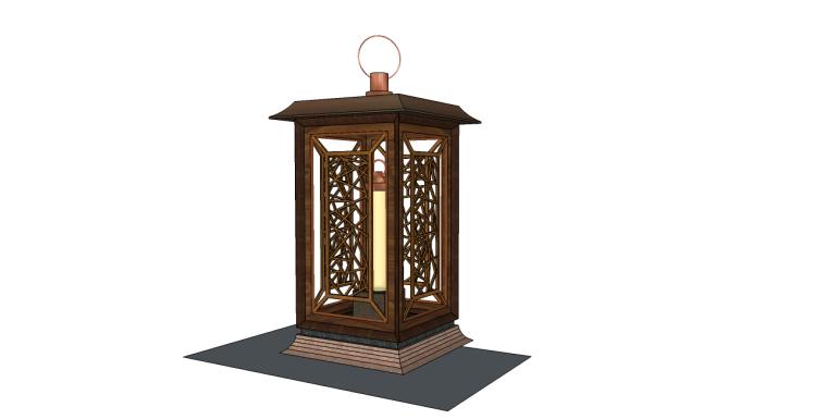 中式景观灯柱su模型
