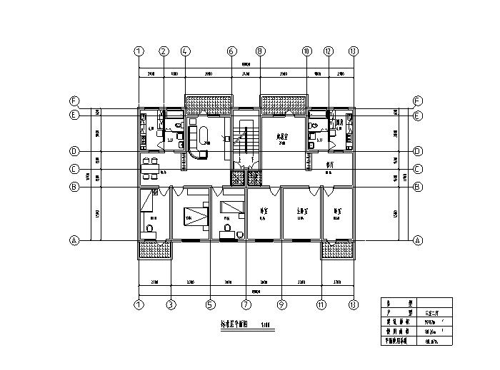 8套小区高层住宅1梯2户标准层户型设计图-高层住宅标准层户型设计图6