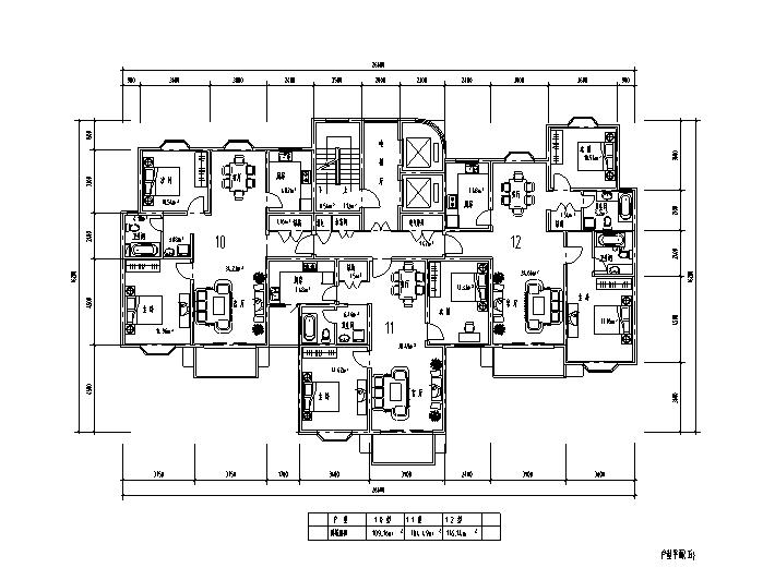 昆山长江花圆高层住宅户型设计图(CAD)