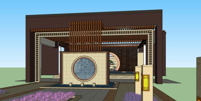 中式居住区景观大门入口su模型