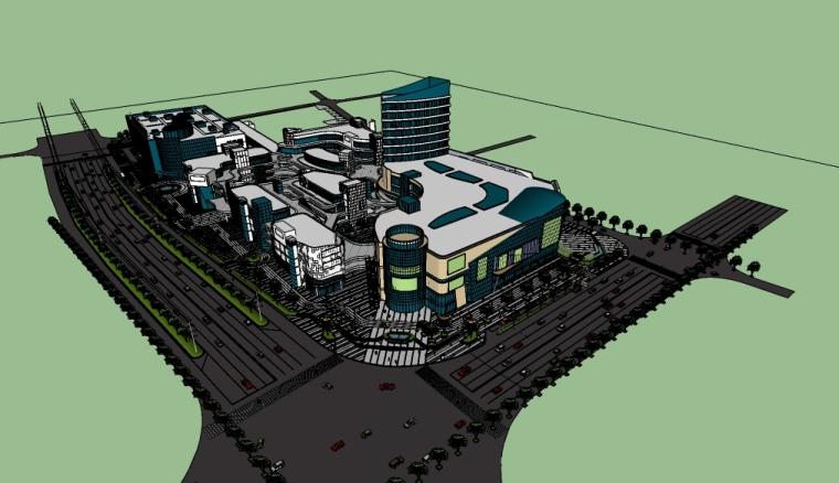 商业综合体(广场、街道)su模型