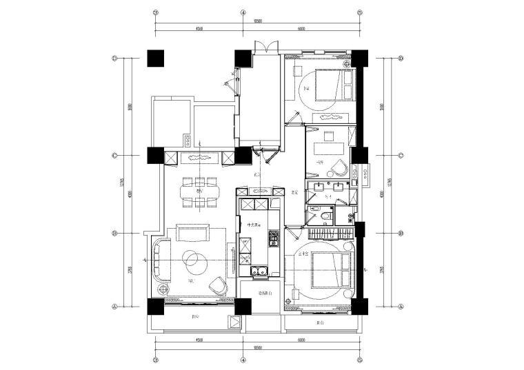 邱德光-上海东樱花苑C3户型装修CAD施工图