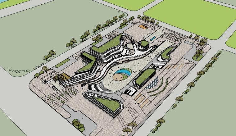 现代城市商业广场景观su模型