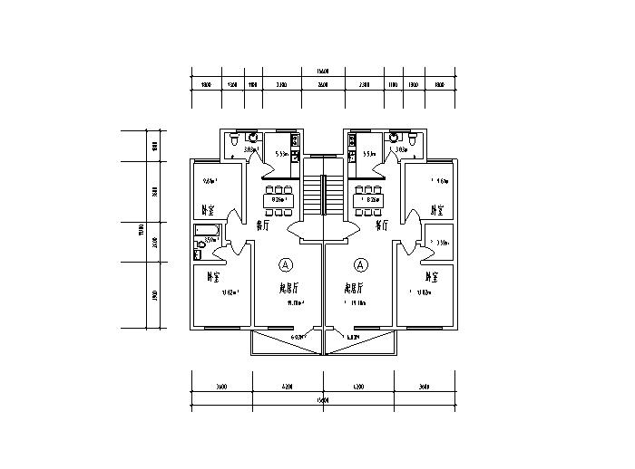 7套一梯两户住宅户型设计图(CAD)