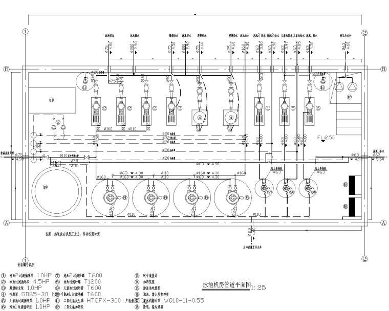 游泳池工程循环水处理工艺施工图
