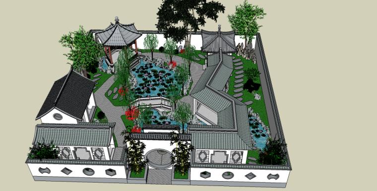 中式古典园林庭院景观su模型