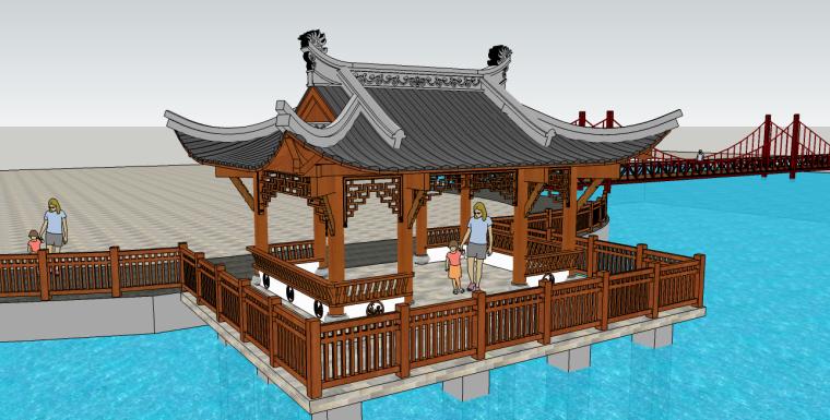 中式水榭亭子su模型