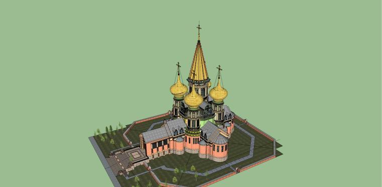 俄式教堂建筑模型设计
