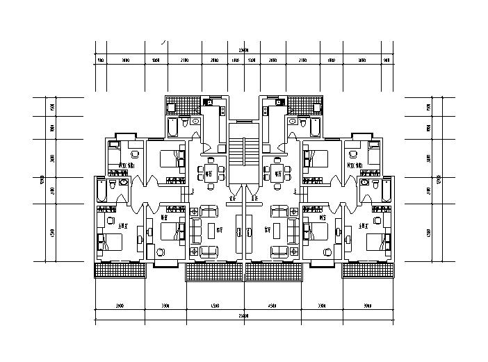 9套1梯2户对称户型设计图-1梯2户对称户型设计图5