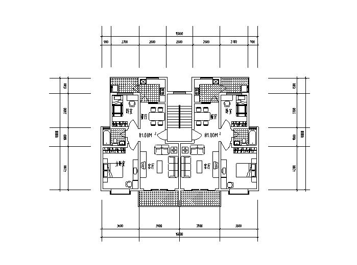 9套1梯2户对称户型设计图-1梯2户对称户型设计图2