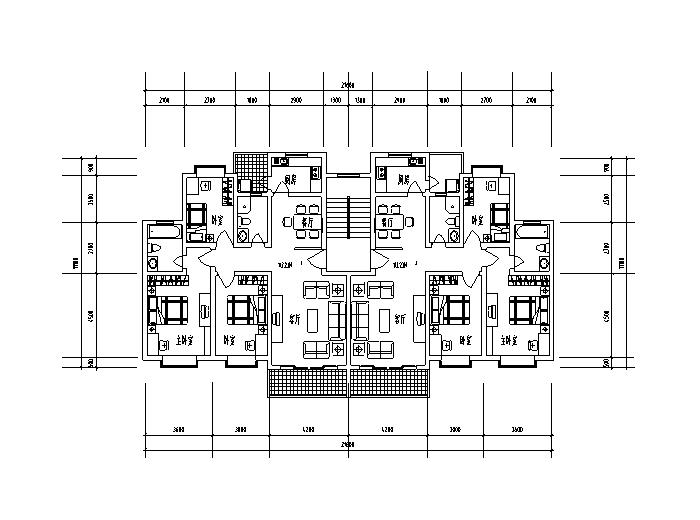 9套1梯2户对称户型设计图-1梯2户对称户型设计图3