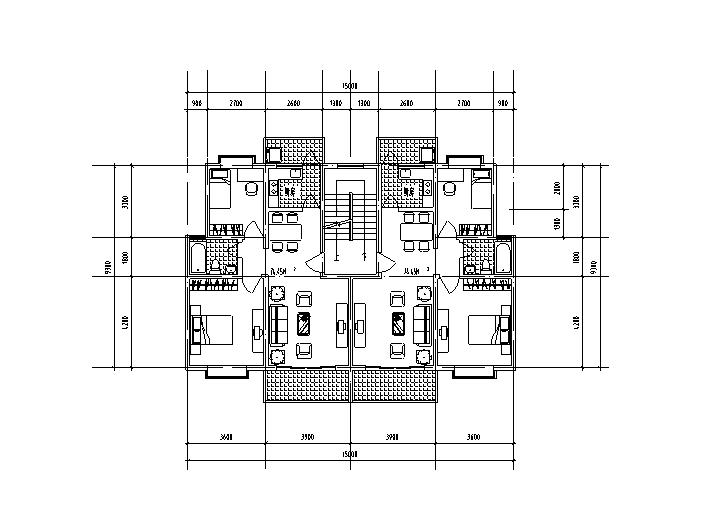 9套1梯2户对称户型设计图