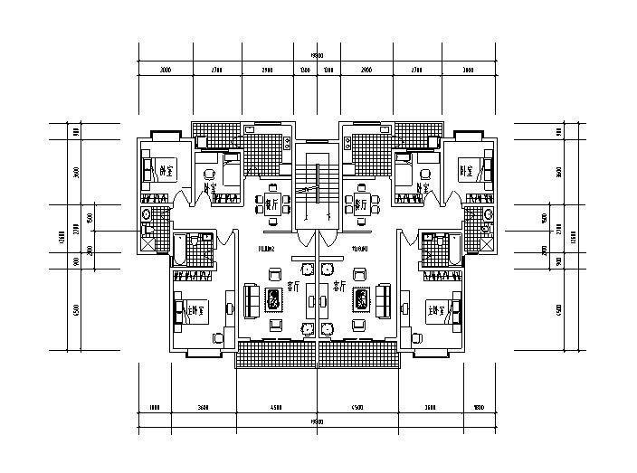 9套1梯2户对称户型设计图-1梯2户对称户型设计图4