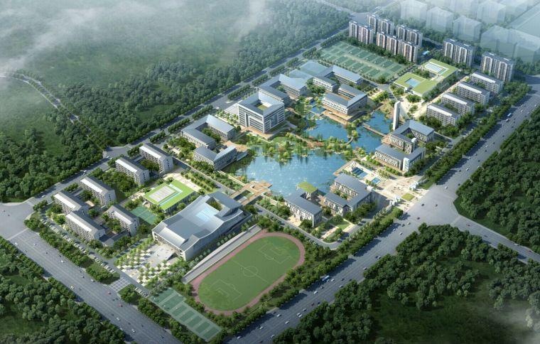 [安徽]徽派中式职校校园规划建筑模型