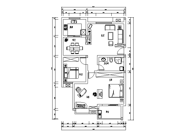 6种套房户型设计图(CAD)