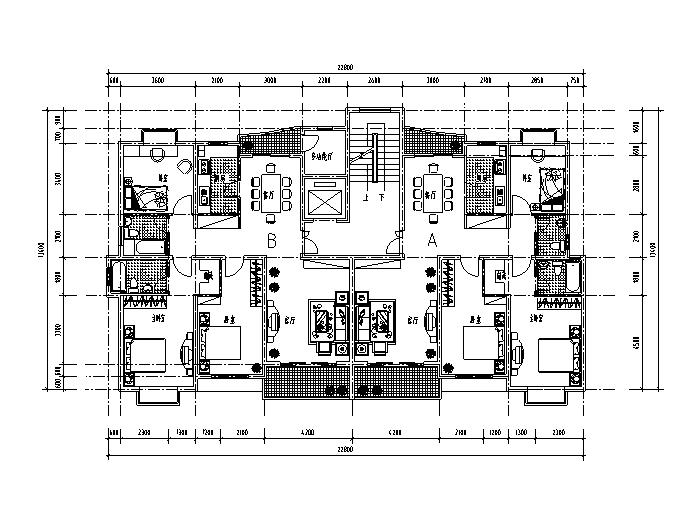 一梯两户小区住宅精选户型设计图