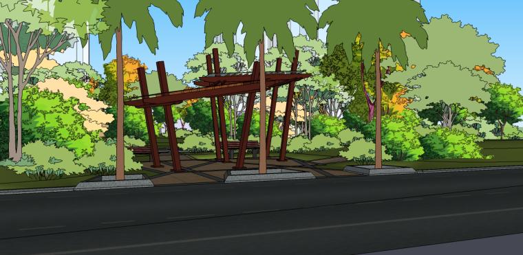 景观亭su模型