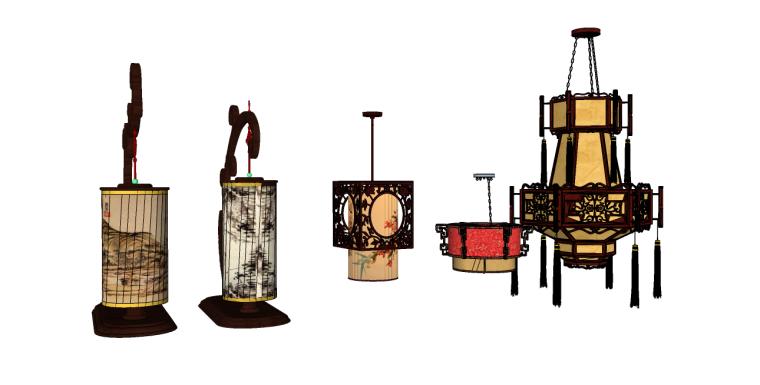 5个室内中式灯笼su模型