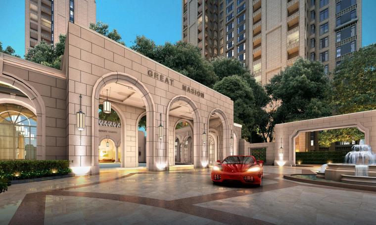 新古典入口会所方案+高层住宅建筑模型设计