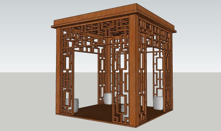 中式景观空亭子 花架su模型