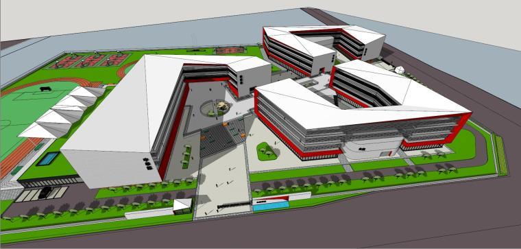 九年一贯制学校建筑模型设计