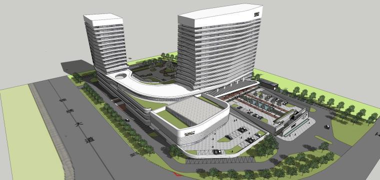 现代风格凯悦酒店建筑模型设计