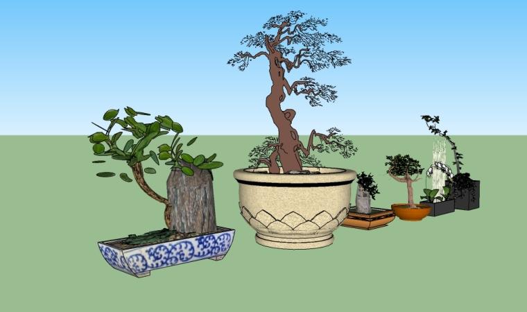 六个景观小品中式盆景su模型