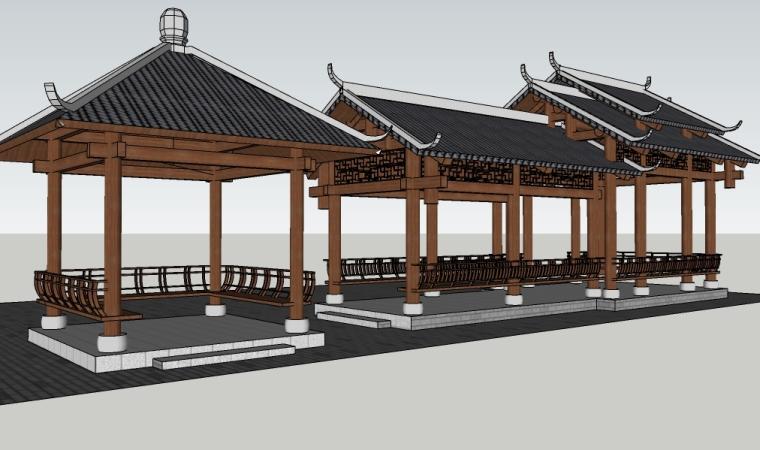 中式景观廊、景观亭su模型