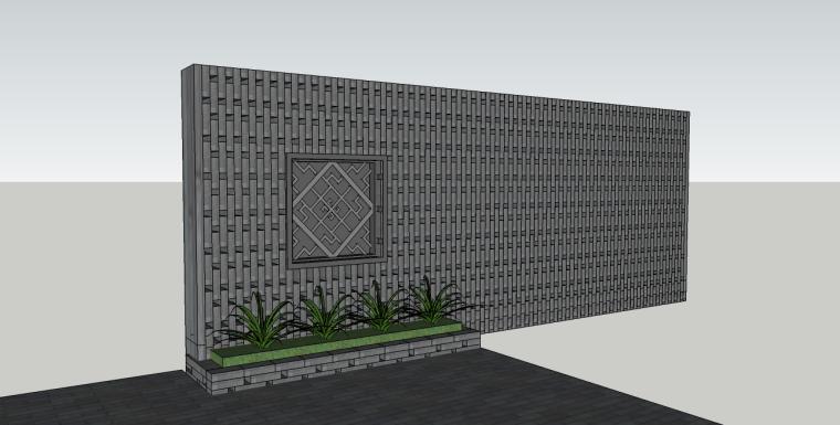 中式石镂空景墙su模型