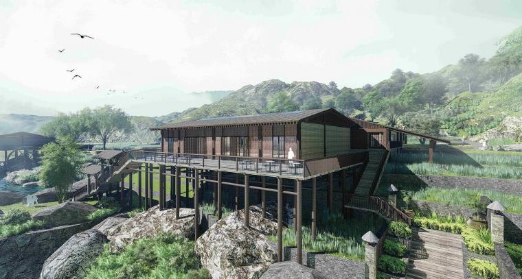 傈僳族精品野奢山地度假酒店建筑模型设计