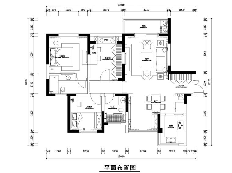 置地悦湖两居室样板房施工图+效果图