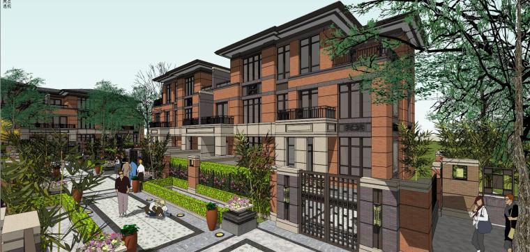 新中式风格泰富别墅建筑模型