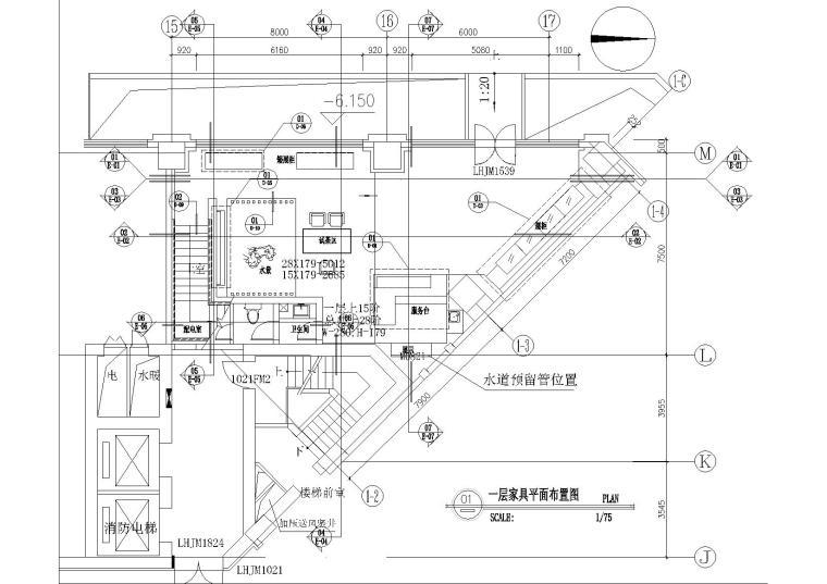某茶馆全套设计施工装修施工图(含机电等)