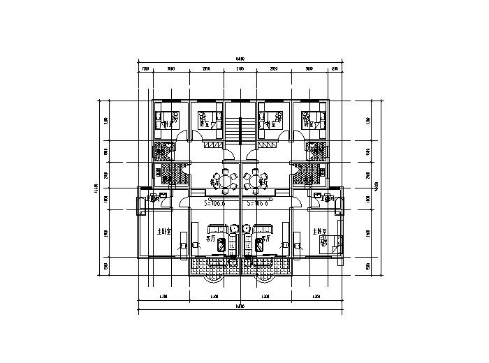 86套小区住宅一梯多户户型平面图(CAD)