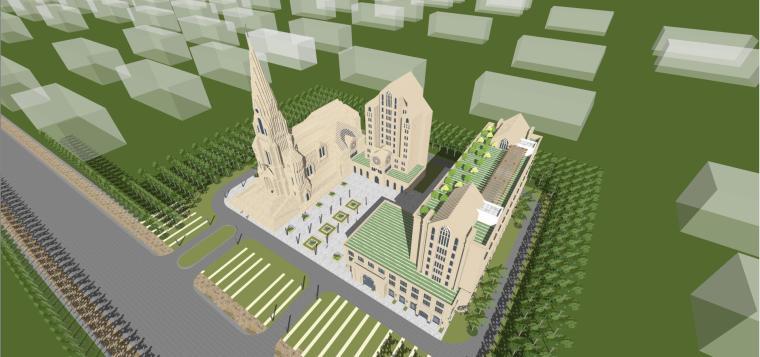 欧式风格天主教堂建筑模型设计