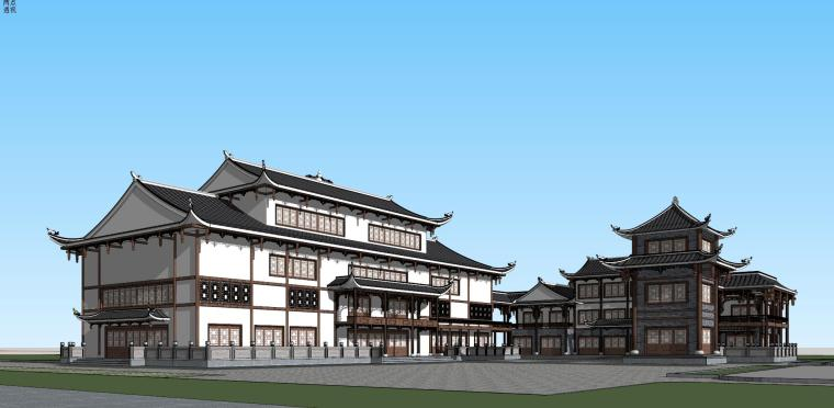 土家族仿古剧院改造建筑模型设计