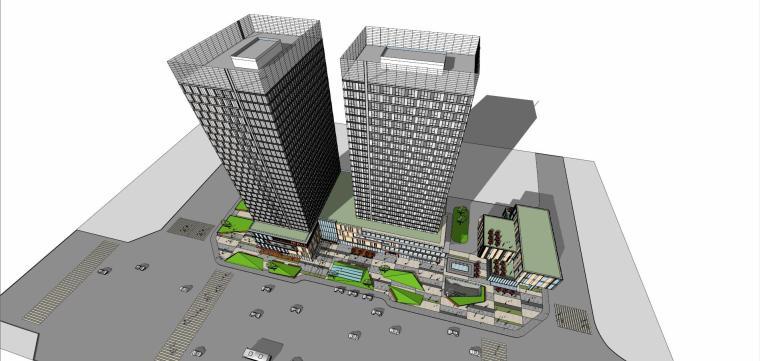 现代风格大型商业综合体建筑模型设计