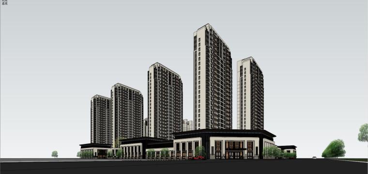 新古典风格保利御花园住宅建筑模型设计