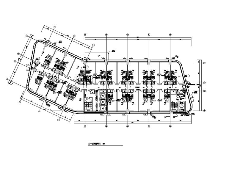 公寓三至十七层给排水平面图