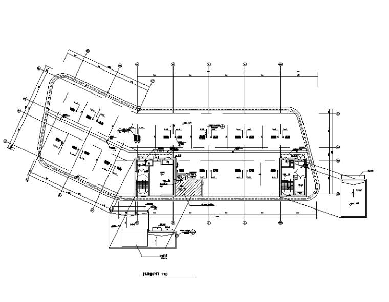 公寓屋面层给排水平面图