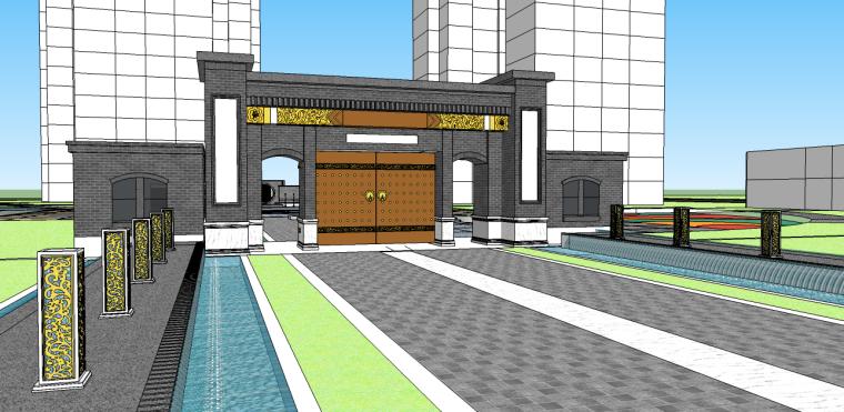 中式居住区大门su模型