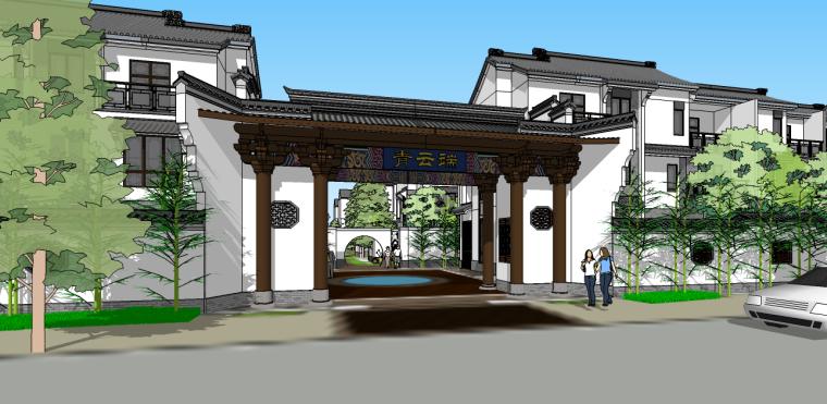 景观中式徽派大门入口su模型