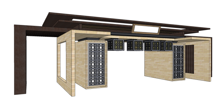 居住区中式大门su模型