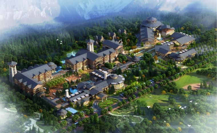 中式风格度假酒店建筑模型设计